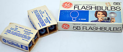 20 New Old Stock GE 5B Blue Flashbulbs 1 Box of 12 & 2 Boxes 4 General Electric