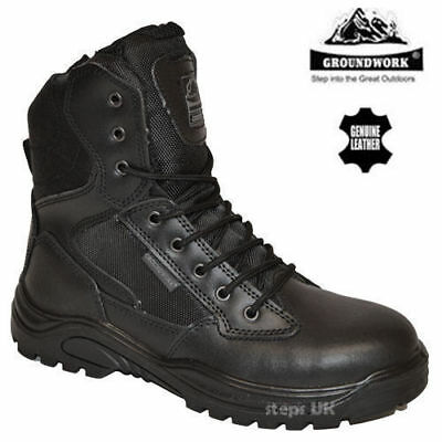 Mens Leather Safety Steel Toe Cap Side Zip Army Military Police Work Boots Shoes