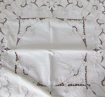 Lovely Vintage Madeira Irish Linen Tablecloth - Embroidered, Cutwork etc