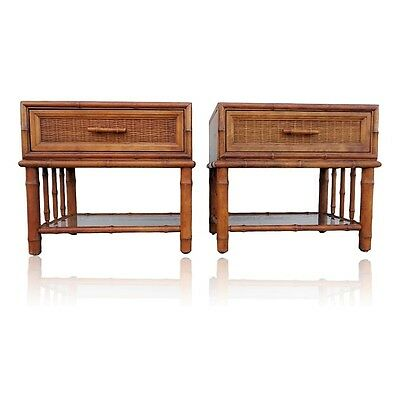Pair Vtg AMERICAN of MARTINSVILLE Faux Bamboo & Cane Nightstands End Tables MCM