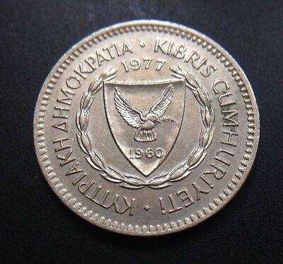 Cyprus 1977 50 Mils Coin 23.5 Mm Diameter Grape Cluster