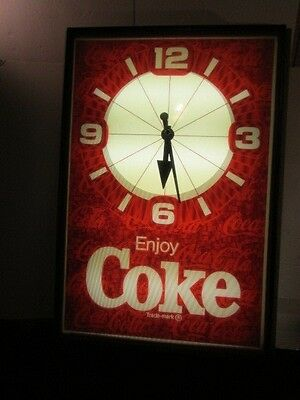 Vintage Large Coca Cola Advertisement Clock Electric Lighted - From Old Grocery