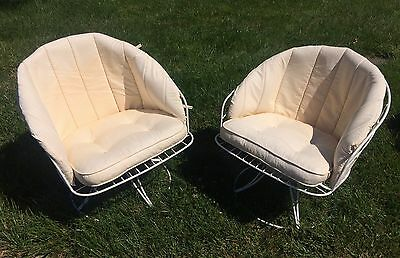 Pair Vintage Homecrest Wire Metal Mid Century Modern Chairs With Cushions