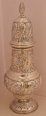 Monster English Hand Chased Repousse Sterling Sugar Shaker Or Muffineer 1903