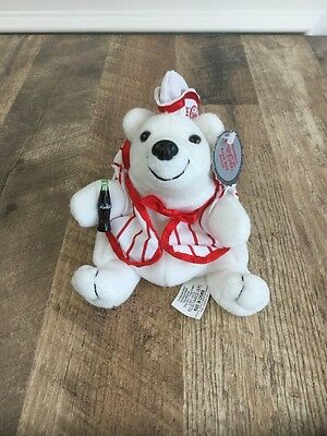 "6"" Coca Cola Polar Bear Soda Jerk Bean Bag Plush W/ Tag NEW"