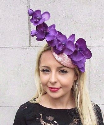 Purple Rose Gold Orchid Flower Fascinator Hat Races Hair Clip Elastic Pink 3416