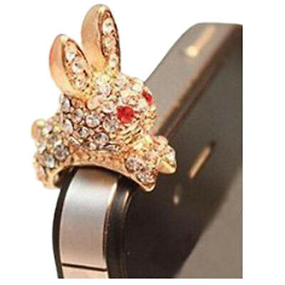 Bunny Rabbit 3.5mm Crystal Anti Dust Plug Bling Earphone Jack Glitter X9J6