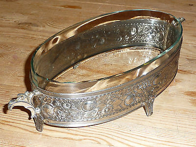 Large Vintage Antique Decorative Embossed Metal Bowl with Clear Glass Insert