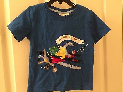 JoJo Maman Bebe Embroidered Dinosaurs Day Out Plane T-Shirt Blue Boys 3-4 Years