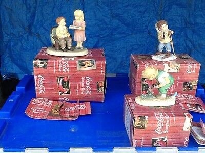 3 Coca Cola Simpler Days Collectible  Figurines By Enesco In Boxes