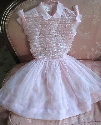 "25""VTG Girl Childs 'Look-a-Likes'Party Dress Lace Organdy Sheer Pink 1950-60's"
