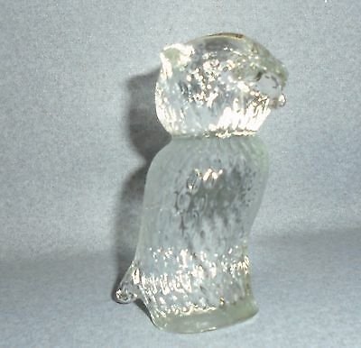 "Vintage Pilgrim Glass -4"" Clear Owl Paperweight Figurine Hand Made"