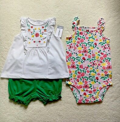 Carter's Baby Girls 3 Pc Set Floral Outfit Size 24 Months New With Tags
