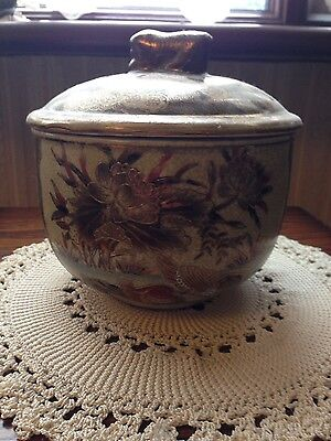 Vintage Japanese pair large bowls with lids