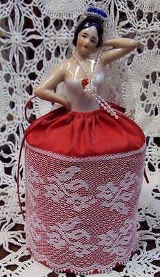 """1. Vtg Porcelain Half Doll LADY Pincushion ~ RED / LACE ~ Unmarked 8"""""""