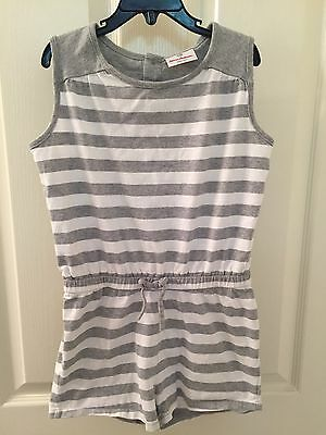 Hanna Andersson Girls Gray and White Striped Romper Size 130