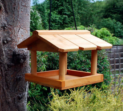 HANGING BIRD TABLE - Wooden Feeder Kingfisher Feeding Station kf Feed Seed Tray