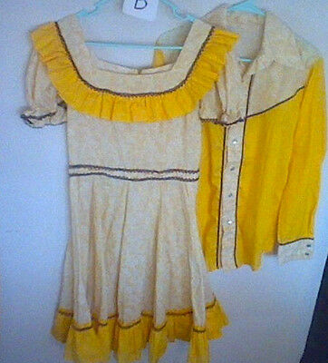 Vintage square dance dress and partners western shirt yellow floral  1970's  B