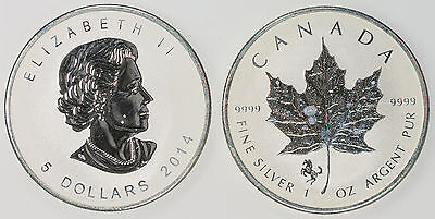 2014 1oz. Silver Canadian Maple Leaf With Horse Privy Brilliant Uncirc C2033