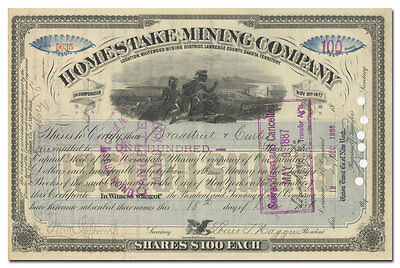 Homestake Mining Company Stock Certificate (1886, Signed by Louis T. Haggin)