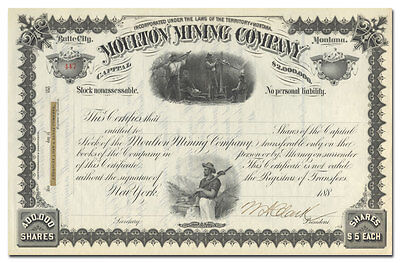 Moulton Mining Company Stock Certificate, Signed by William A. Clark