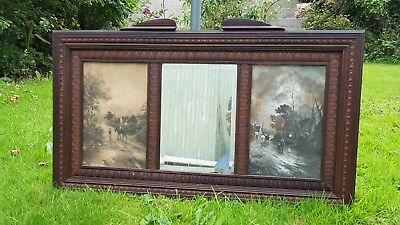 Antique vintage mirror with paintings