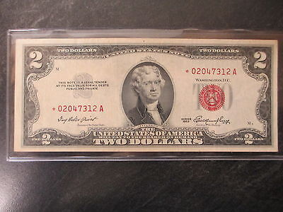 1953 Us Red Seal $2 Dollar Star Bill Replacement Note