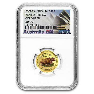 2009 1/4 oz Gold Australian Lunar Year of the Ox Colorized Coin - SKU #56483