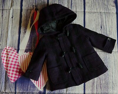 Burberry Baby Girls Purple Wool Checked Duffel Coat 6 Months Excellent Condition
