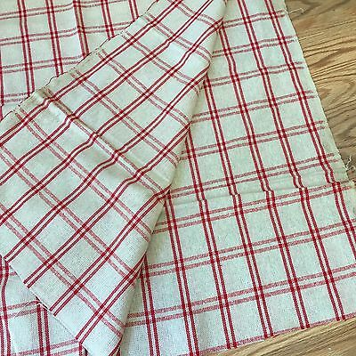 Vintage French woven linen towel fabric Red white gingham, check as found