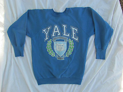 Vintage 1980s Yale University Sweatshirt Mens Size L Made in USA Blue preppie