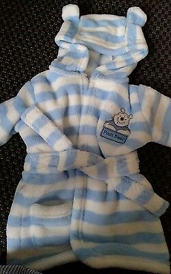 Baby boy Winnie the pooh dressing gown 3-6 months blue & white stripes