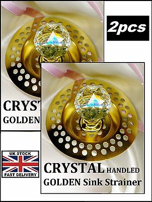 2 x GOLD* Sink Plughole Covers CRYSTAL HANDLED ! ~ Bathroom~ Sink NEW !