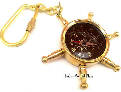 Brass  Pocket Wheel Compass Keychain Maritime Vintage Style Nautical Jewellery