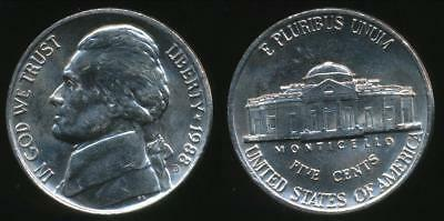 United States, 1988-D 5 Cents, Jefferson Nickel - Uncirculated