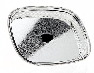 Palais Dinnerware Beautiful, Silver Plated, Square Serving Tray With Traditio...