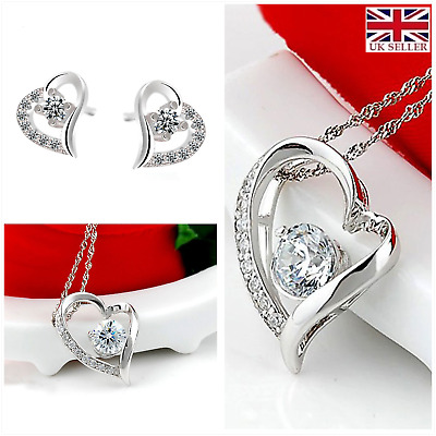 Love Forever Crystal Heart Sterling Silver Earrings & Necklace UK seller