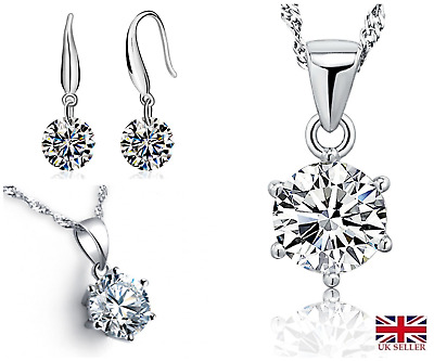 Crystal Sterling Silver Earrings & Necklace 925 Stamp Free gift bag