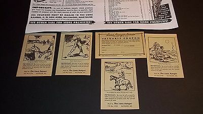 ~LOT B of 5~ LONE RANGER CONES Premium Coupons c.1939 Orig. 5 different scenes~