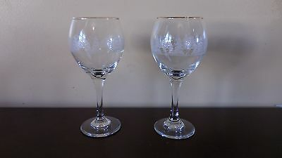 2.  ARBY's GLASSES  ETCHED WINTER  HOLIDAY CHRISTMAS SCENE ~  GOLD RIM