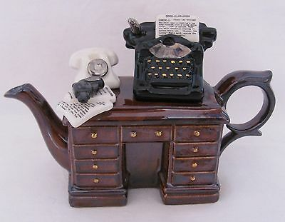 Paul Cardew Design Novelty Teapot Crime Writer's Desk Signed By Paul Cardew