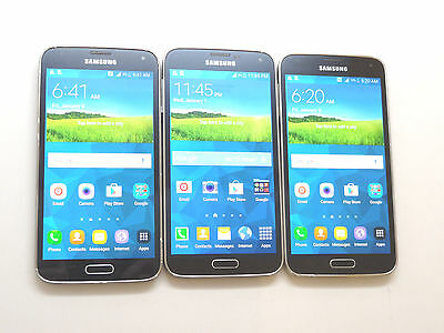 Lot of 3 Samsung Galaxy S5 T-Mobile SM-G900T Smartphones Power On AS-IS GSM $