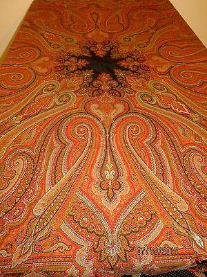 Antique paisley shawl cutter stunning pattern - 128 X 64 .. old linens craft #1
