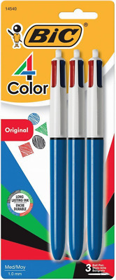 4-Color Ball Pen Refillable Long Lasting Ink Medium Point 1.0mm Assorted Ink 3CT