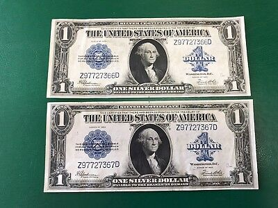 Pair Of Fr-237 $1 Large Silver Certificate Consecutive Notes