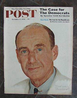 Vintage October 6 1956 The Saturday Evening Post Magazine  Norman Rockwell Cover