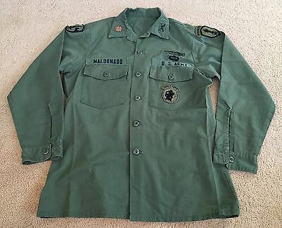 """~Us Army Airborne Spec Forces Vietnam Officers Utility Shirt 42"""" Jungle Expert"""