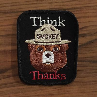 1982 Smokey the Bear Forest Service Fire Fighter Dept Patch THINK THANKS