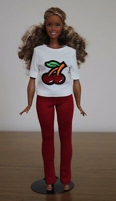 "Clothes for Curvy Barbie Doll. Shirt ""Cherry"" and Red Leggings for Dolls."