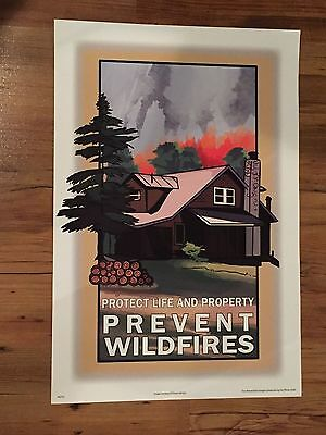 Smokey The Bear Poster Protect Life & Property Forest Fire Park Service Sign